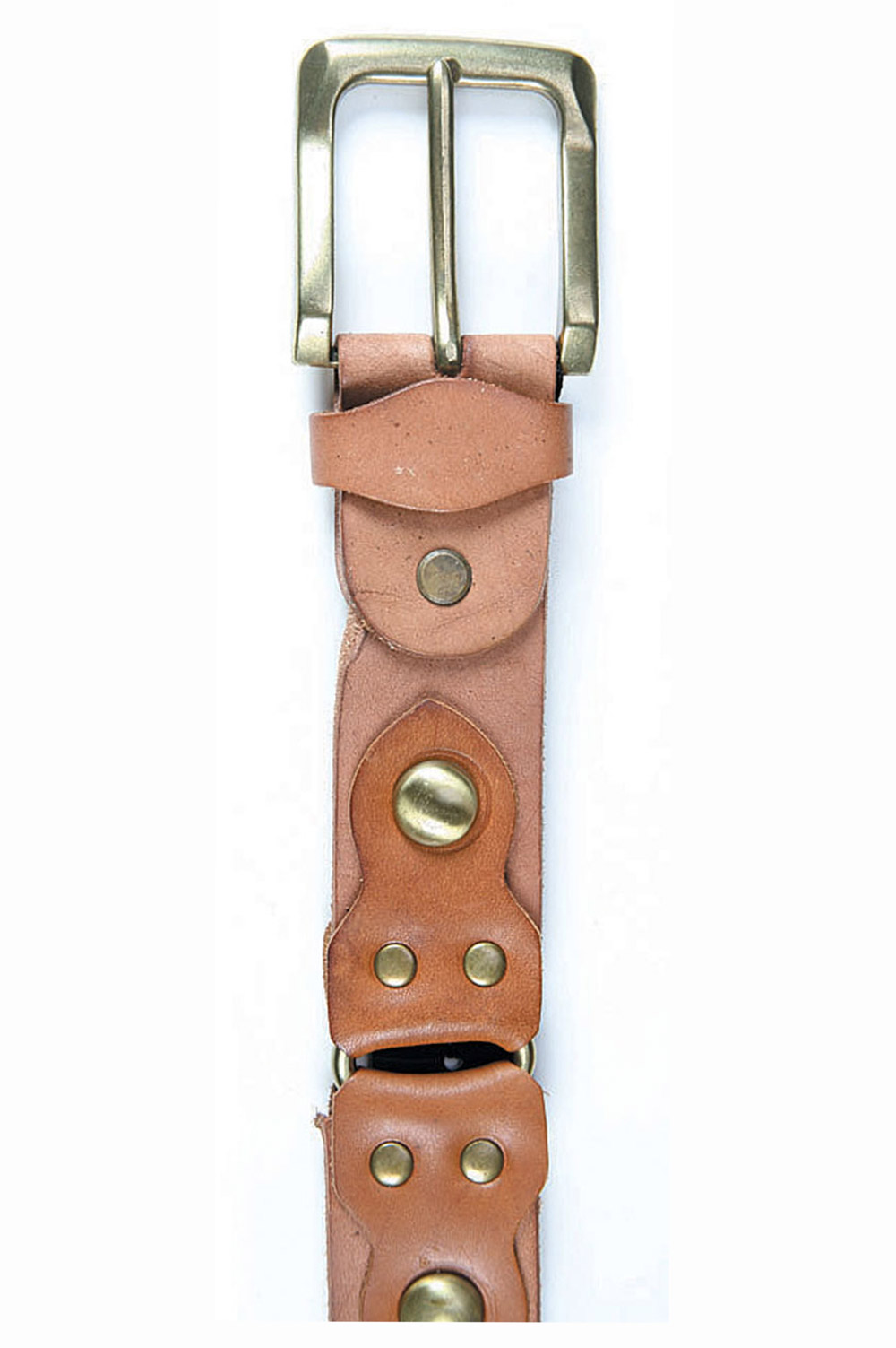 Art Sports Belt from natural light brown skin from cowhide with caps - 514023